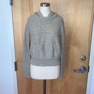 Rustic sweater w/removable hood - elastic waist